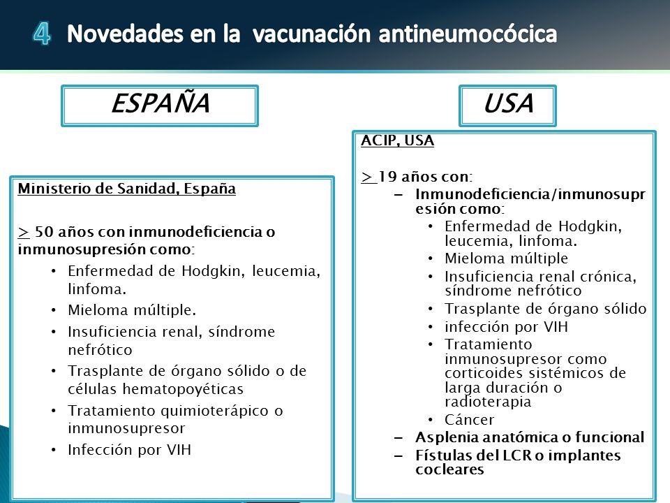 ESPAÑA USA ACIP, USA > 19 años con: