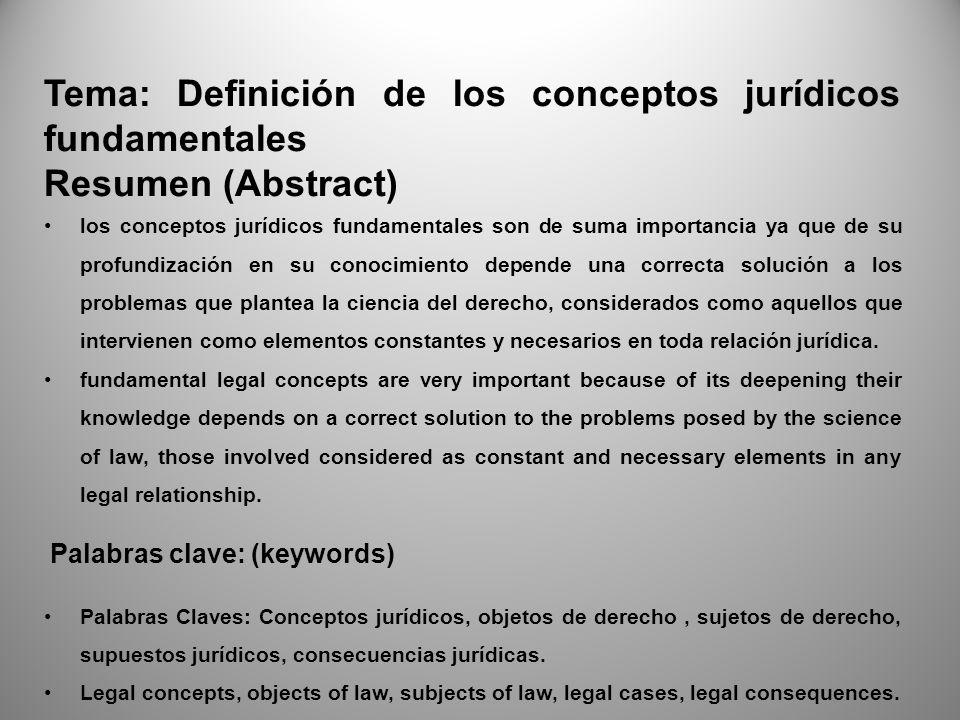 Tema: Definición de los conceptos jurídicos fundamentales