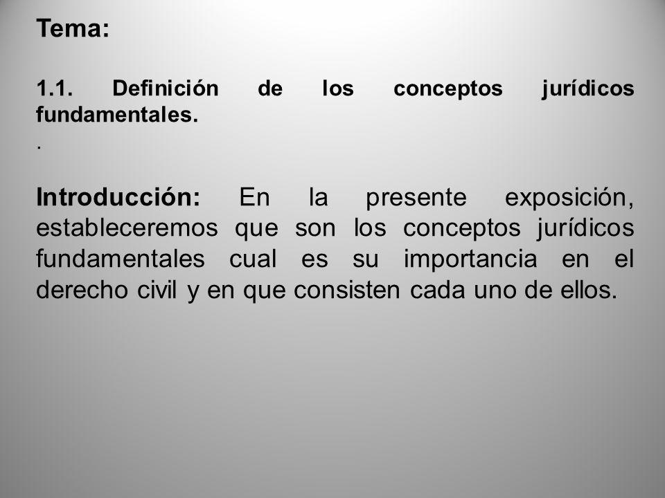 Tema: 1.1. Definición de los conceptos jurídicos fundamentales. .