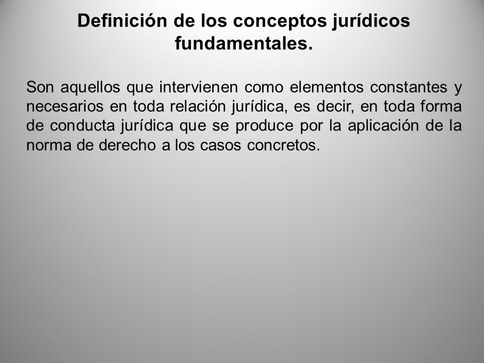 Definición de los conceptos jurídicos fundamentales.