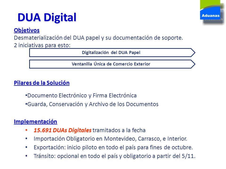 Digitalización del DUA Papel Ventanilla Única de Comercio Exterior