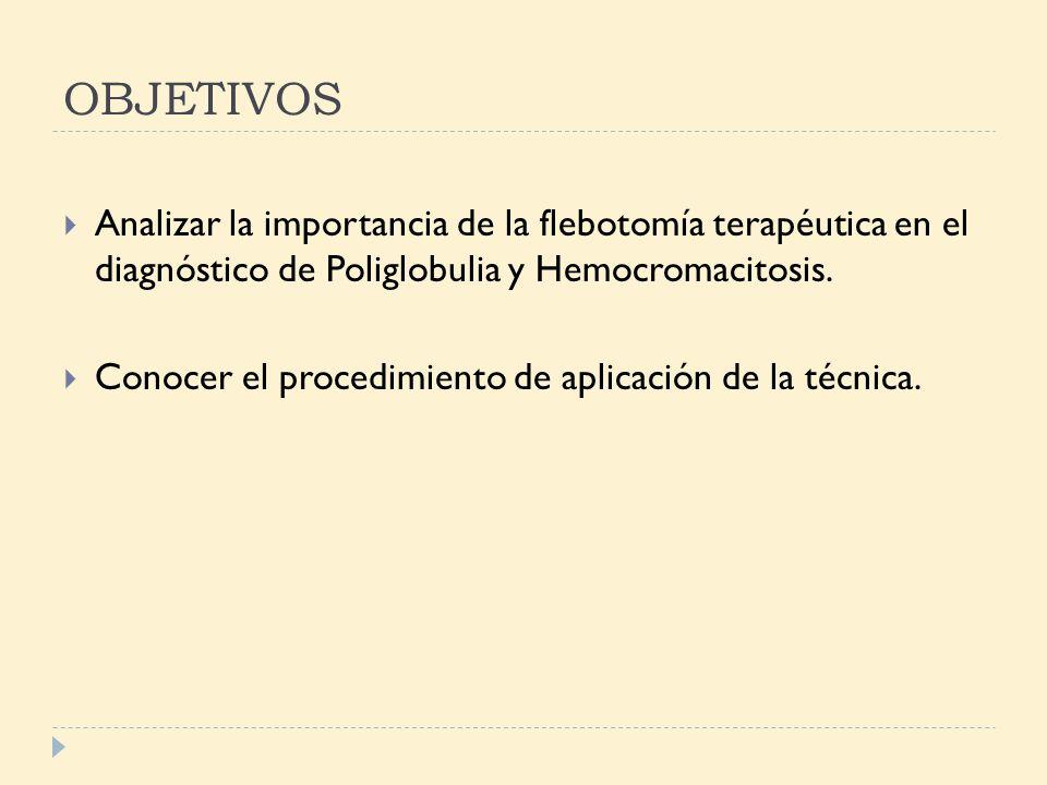 OBJETIVOS Analizar la importancia de la flebotomía terapéutica en el diagnóstico de Poliglobulia y Hemocromacitosis.