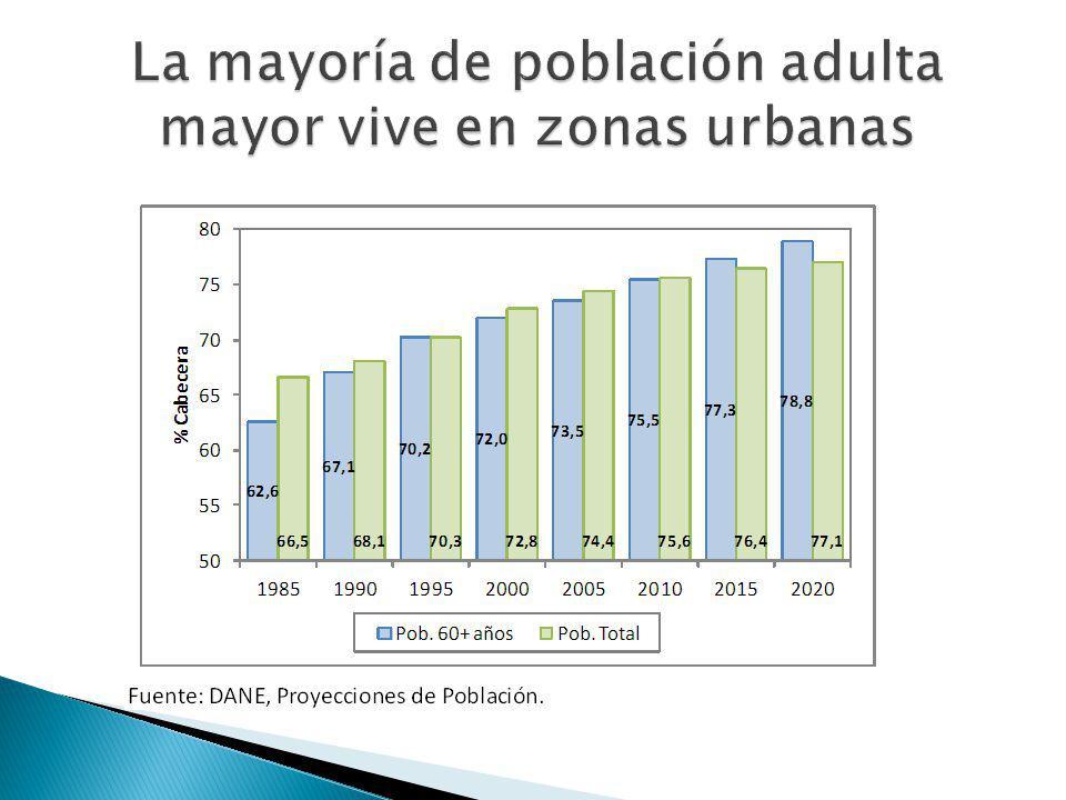 La mayoría de población adulta mayor vive en zonas urbanas