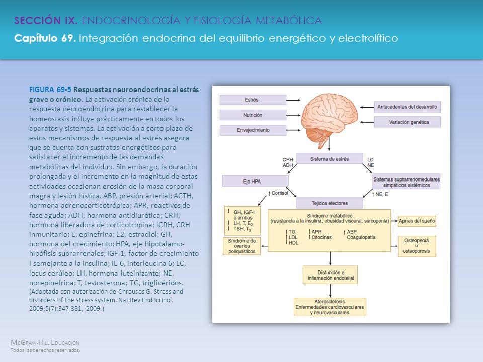 FIGURA 69-5 Respuestas neuroendocrinas al estrés grave o crónico
