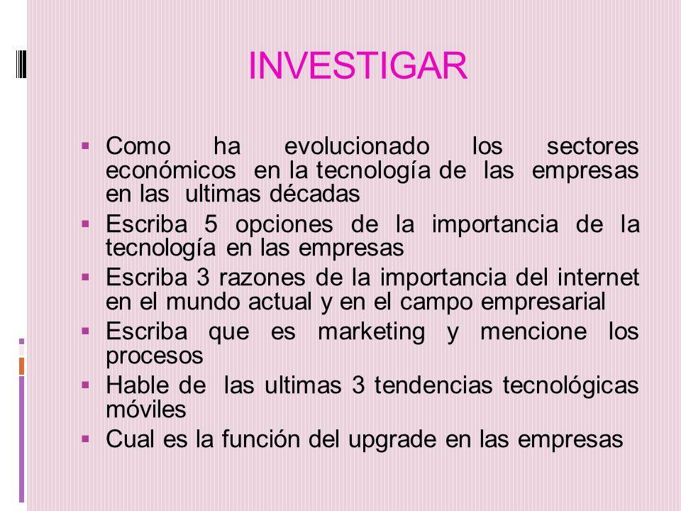 INVESTIGAR Como ha evolucionado los sectores económicos en la tecnología de las empresas en las ultimas décadas.