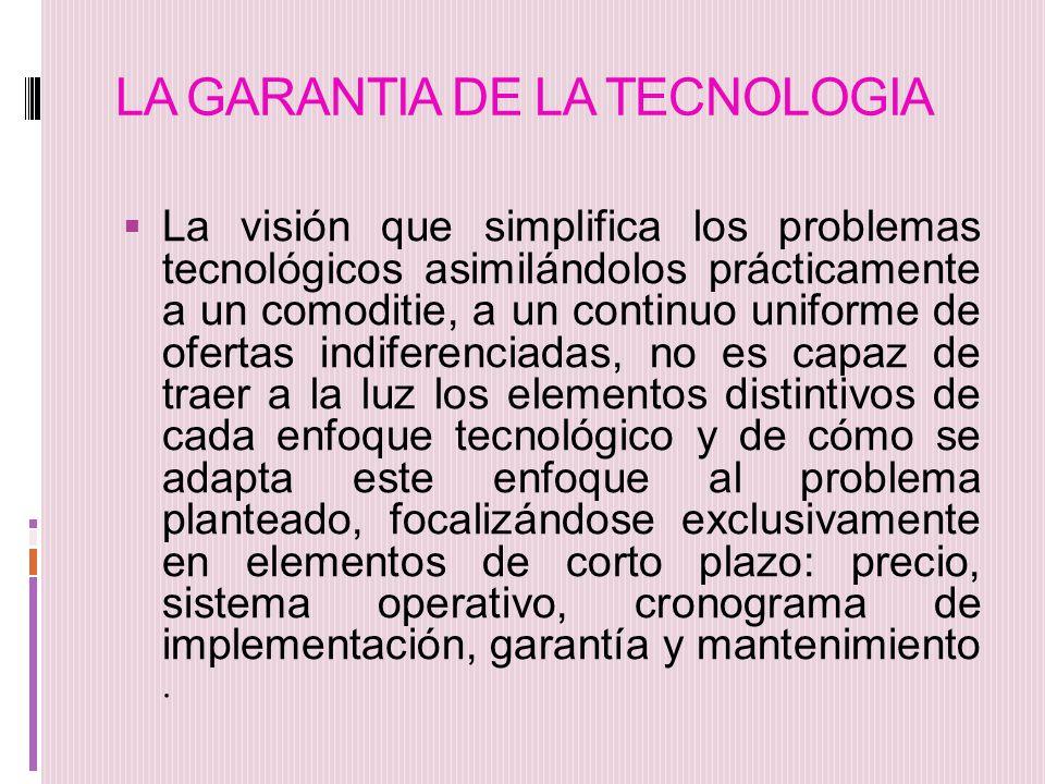 LA GARANTIA DE LA TECNOLOGIA