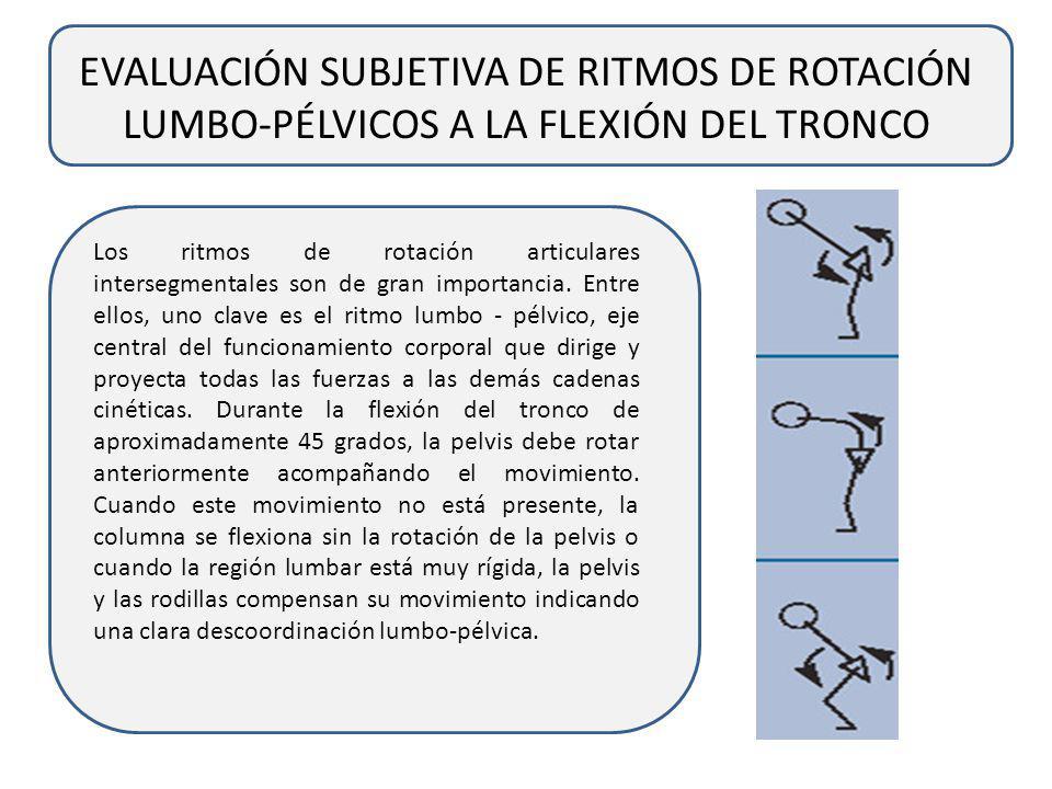 EVALUACIÓN SUBJETIVA DE RITMOS DE ROTACIÓN LUMBO-PÉLVICOS A LA FLEXIÓN DEL TRONCO