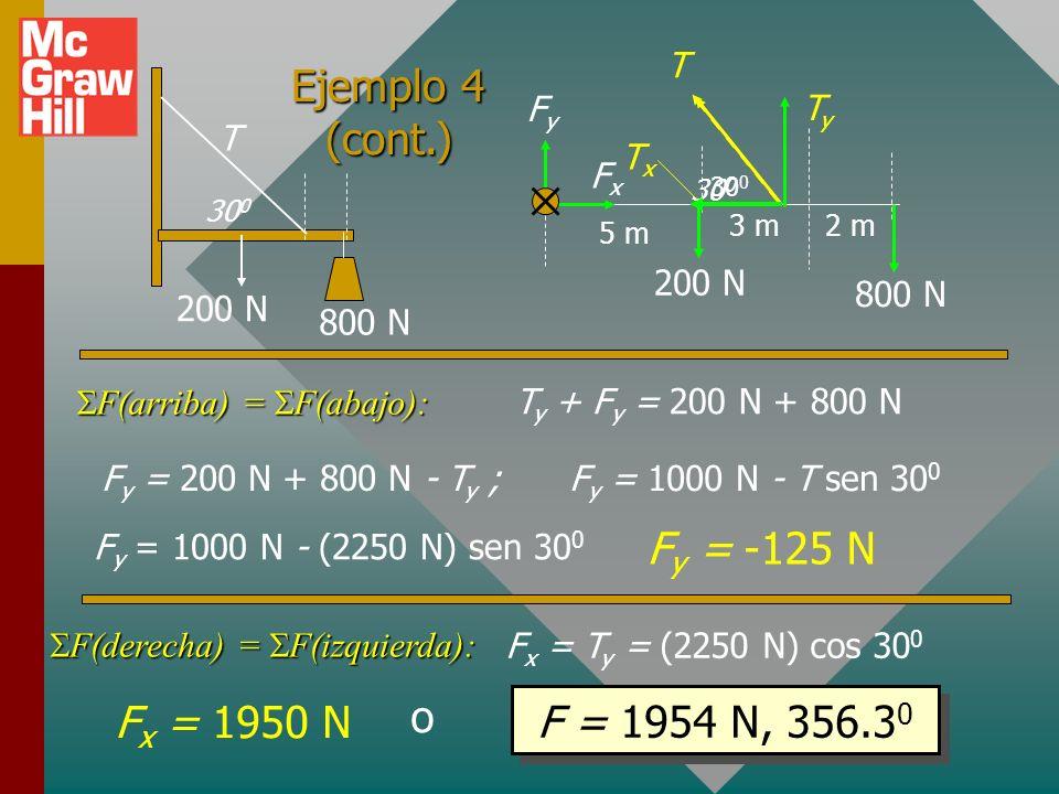 Ejemplo 4 (cont.) Fy = -125 N o Fx = 1950 N F = 1954 N, 356.30 T T