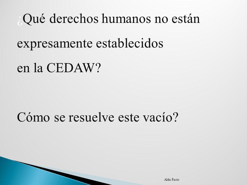 ¿Qué derechos humanos no están expresamente establecidos en la CEDAW