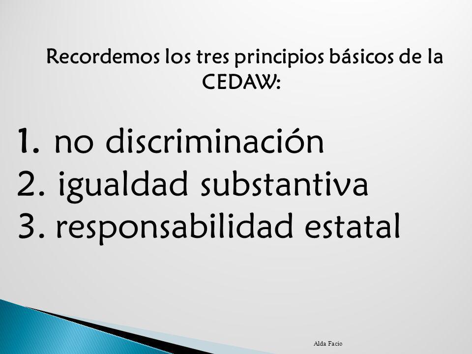 Recordemos los tres principios básicos de la CEDAW:
