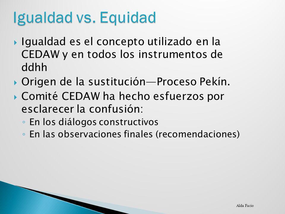 Igualdad vs. Equidad Igualdad es el concepto utilizado en la CEDAW y en todos los instrumentos de ddhh.