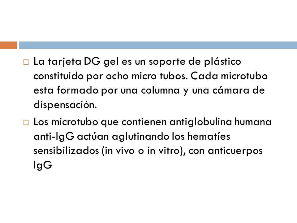 La tarjeta DG gel es un soporte de plástico constituido por ocho micro tubos. Cada microtubo esta formado por una columna y una cámara de dispensación.