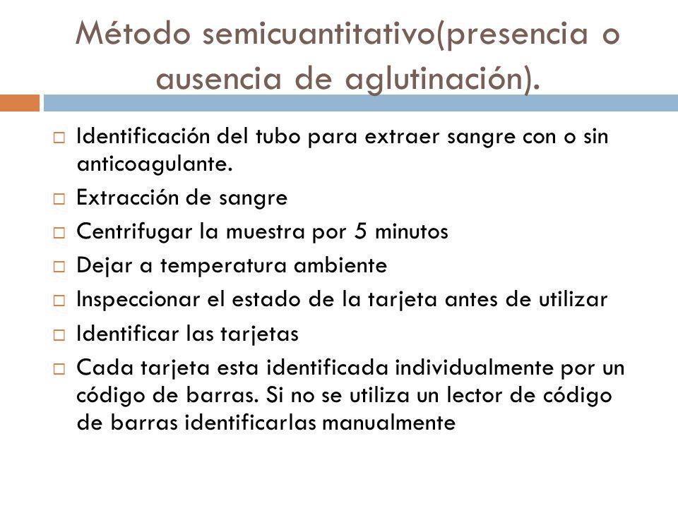 Método semicuantitativo(presencia o ausencia de aglutinación).