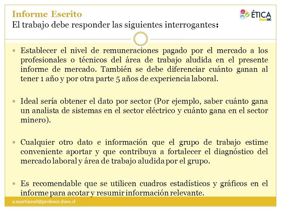 Informe Escrito El trabajo debe responder las siguientes interrogantes: