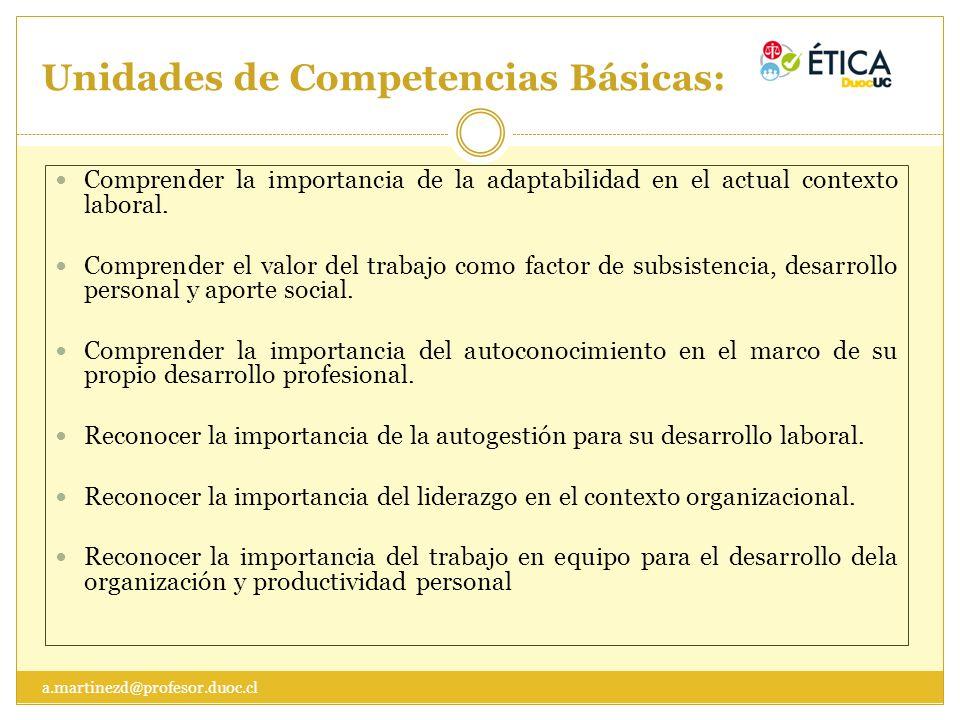 Unidades de Competencias Básicas: