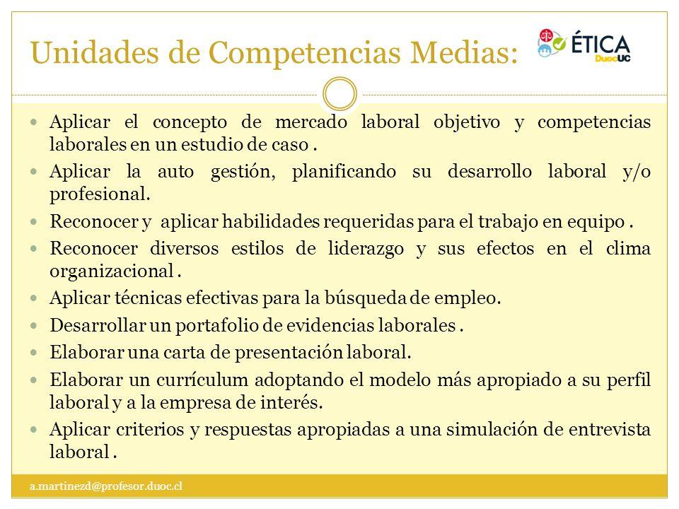 Unidades de Competencias Medias:
