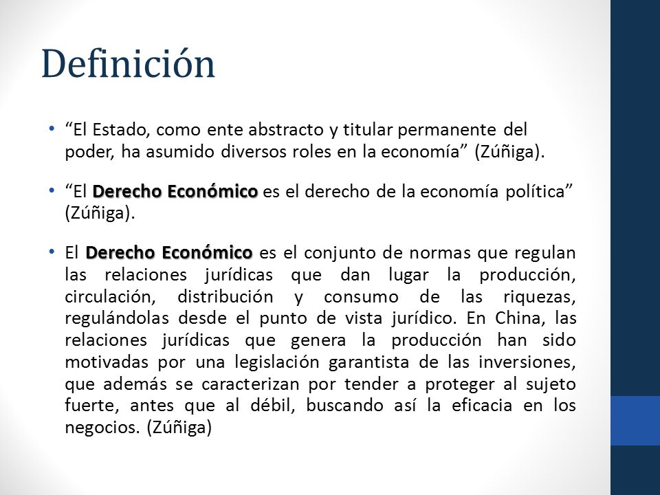 Definición El Estado, como ente abstracto y titular permanente del poder, ha asumido diversos roles en la economía (Zúñiga).