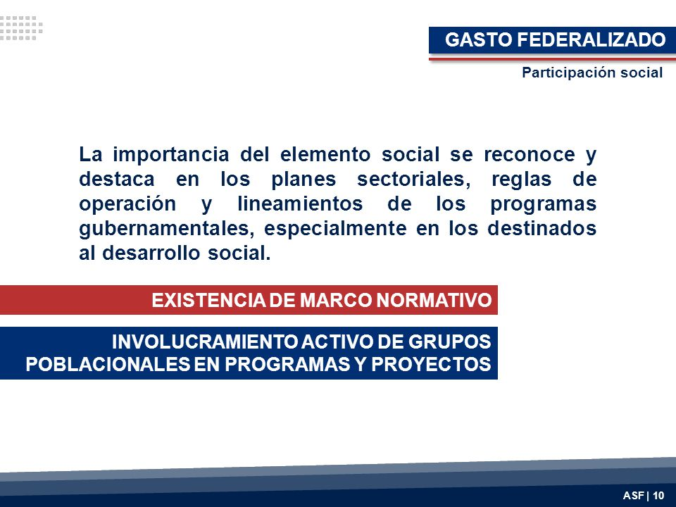 GASTO FEDERALIZADO Participación social.