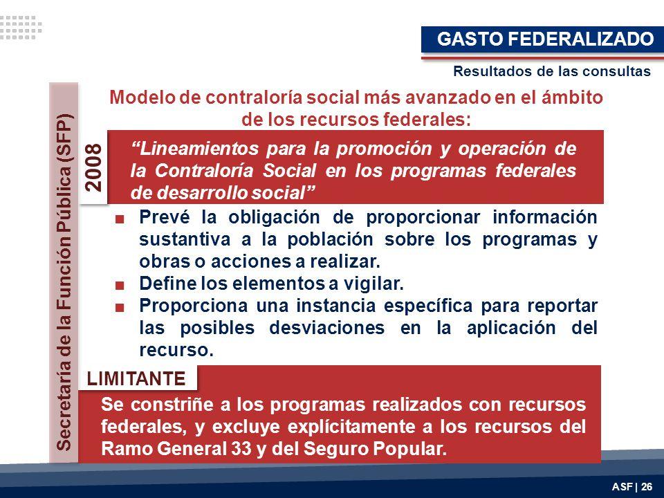 GASTO FEDERALIZADO Resultados de las consultas. Modelo de contraloría social más avanzado en el ámbito de los recursos federales: