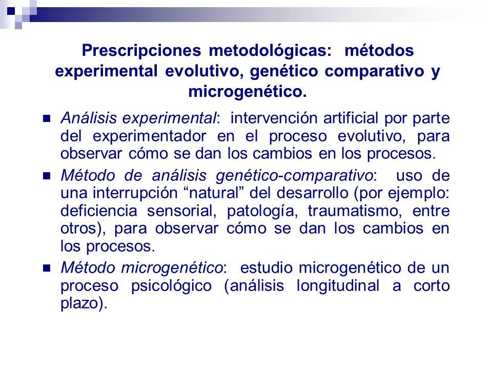 Prescripciones metodológicas: métodos experimental evolutivo, genético comparativo y microgenético.