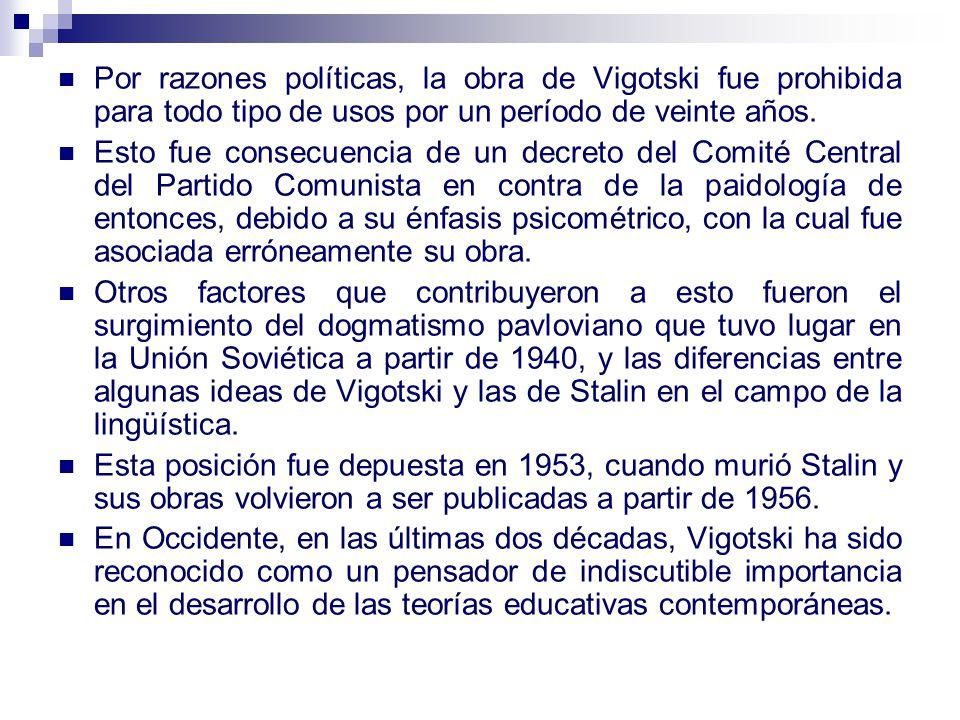 Por razones políticas, la obra de Vigotski fue prohibida para todo tipo de usos por un período de veinte años.