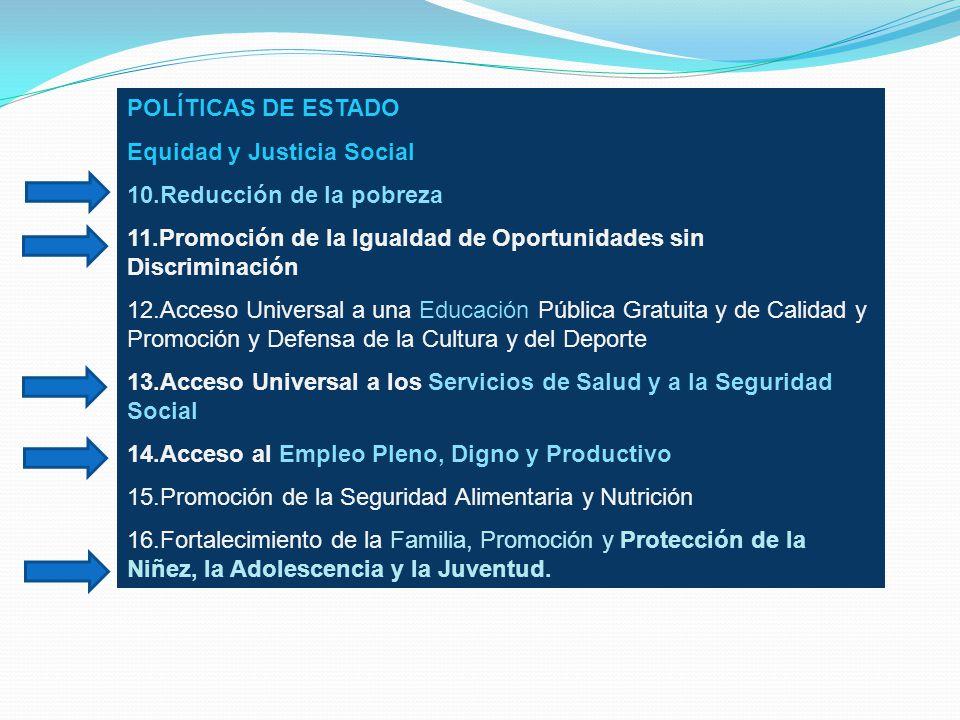 POLÍTICAS DE ESTADO Equidad y Justicia Social. 10.Reducción de la pobreza. 11.Promoción de la Igualdad de Oportunidades sin Discriminación.