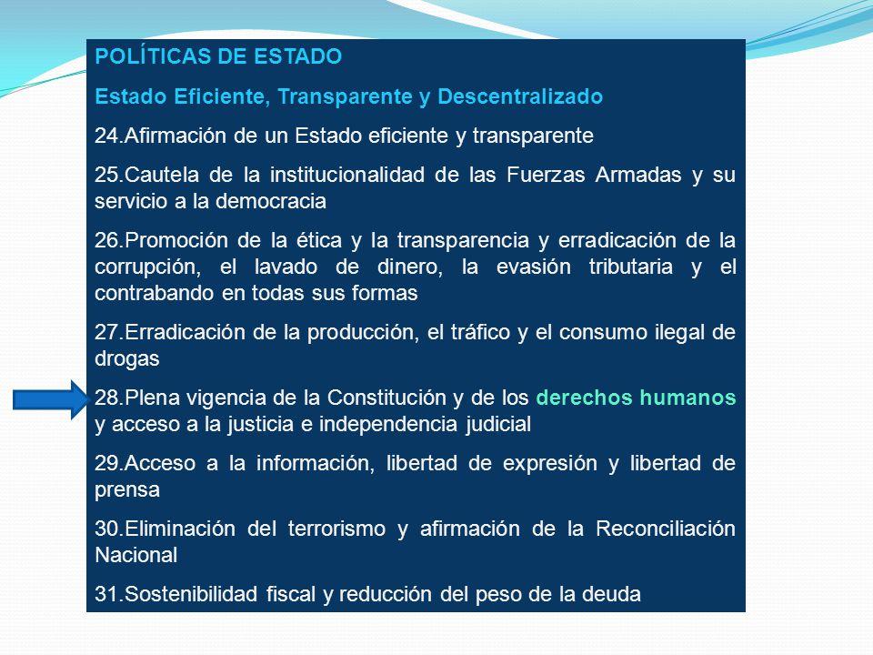 POLÍTICAS DE ESTADO Estado Eficiente, Transparente y Descentralizado. 24.Afirmación de un Estado eficiente y transparente.