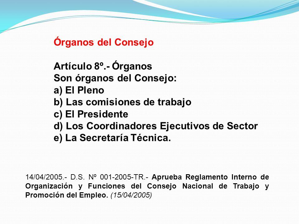 Son órganos del Consejo: a) El Pleno b) Las comisiones de trabajo