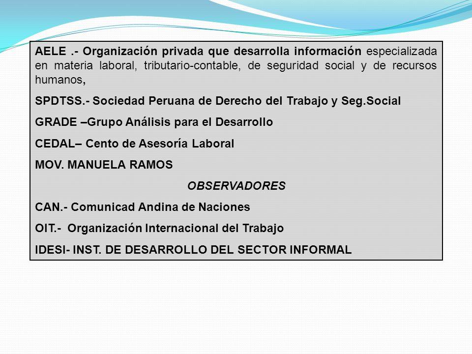 AELE .- Organización privada que desarrolla información especializada en materia laboral, tributario-contable, de seguridad social y de recursos humanos,