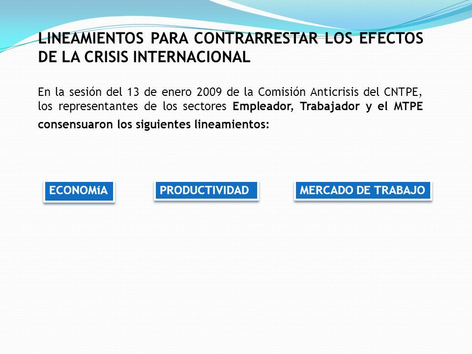 LINEAMIENTOS PARA CONTRARRESTAR LOS EFECTOS DE LA CRISIS INTERNACIONAL