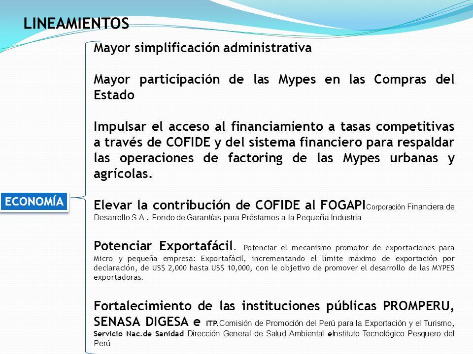LINEAMIENTOS Mayor simplificación administrativa