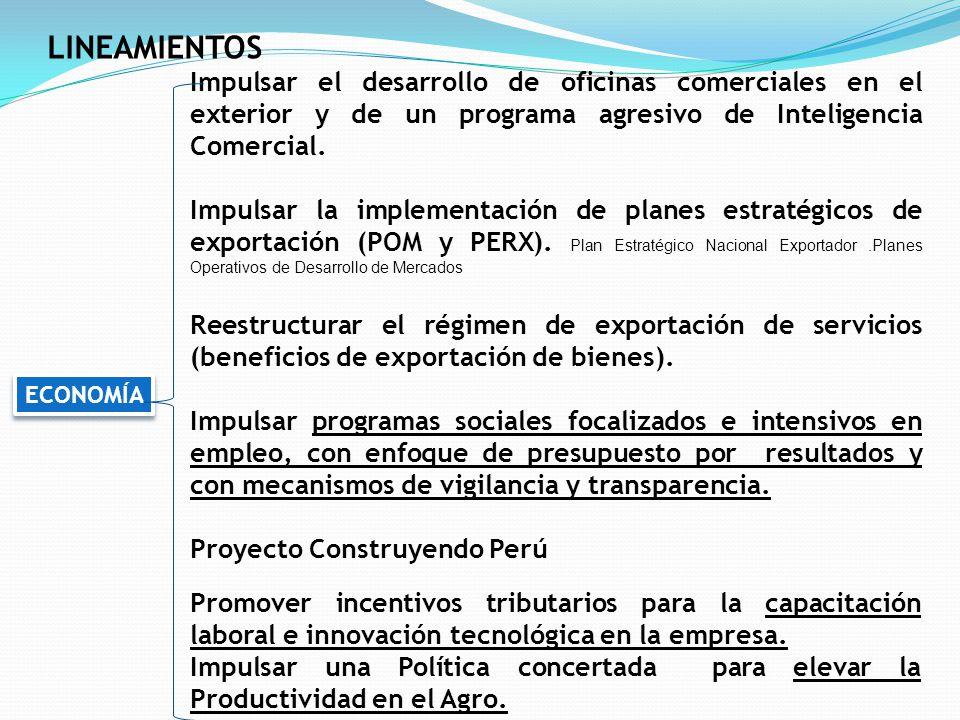 LINEAMIENTOS Impulsar el desarrollo de oficinas comerciales en el exterior y de un programa agresivo de Inteligencia Comercial.
