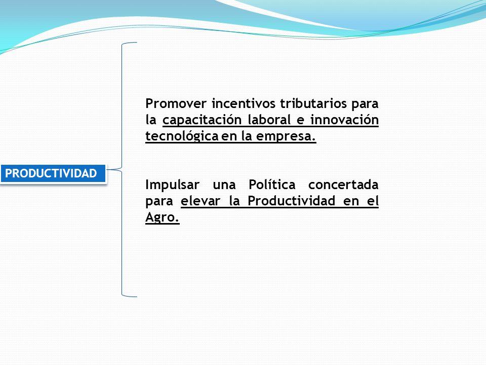 Promover incentivos tributarios para la capacitación laboral e innovación tecnológica en la empresa.