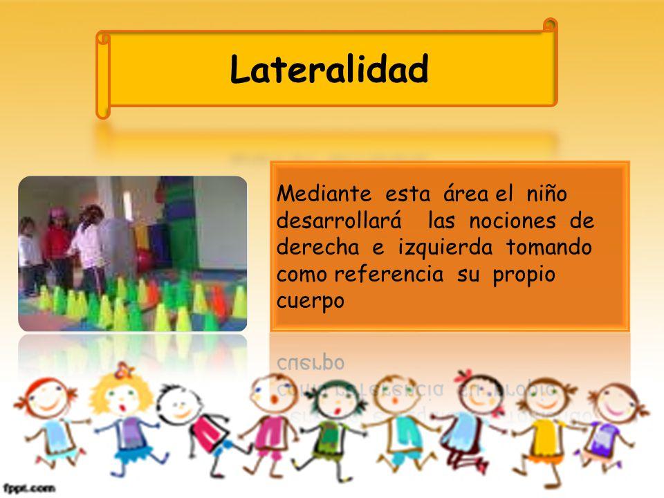 Lateralidad Mediante esta área el niño desarrollará las nociones de derecha e izquierda tomando como referencia su propio cuerpo.