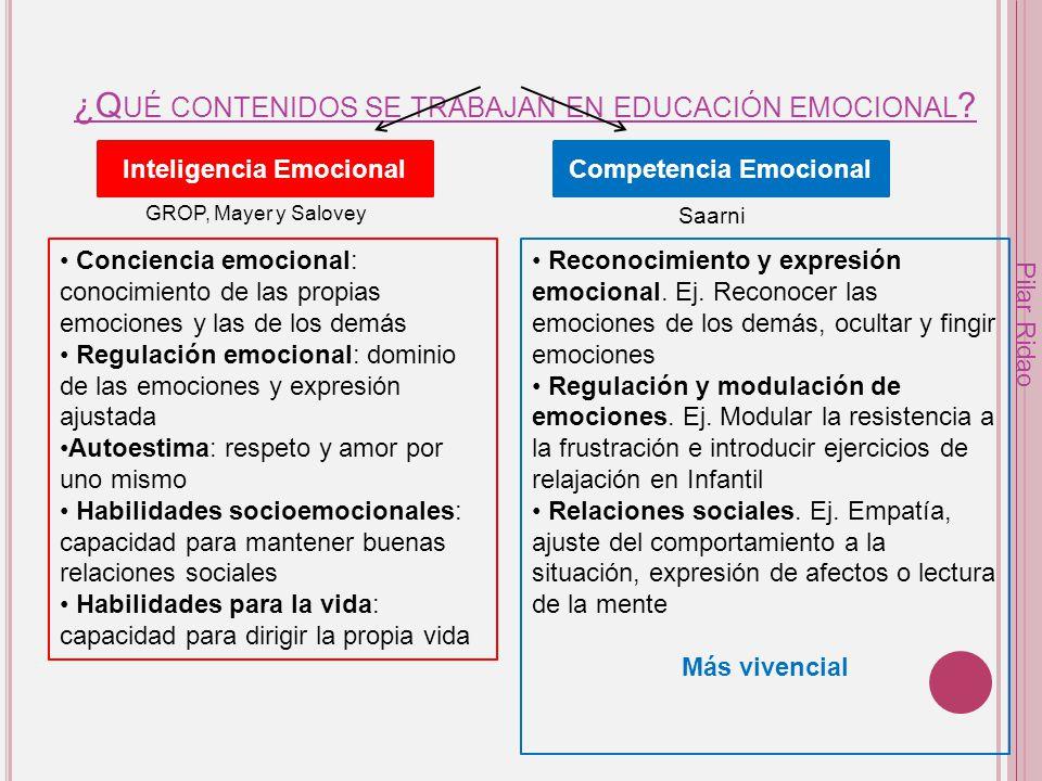 ¿Qué contenidos se trabajan en educación emocional