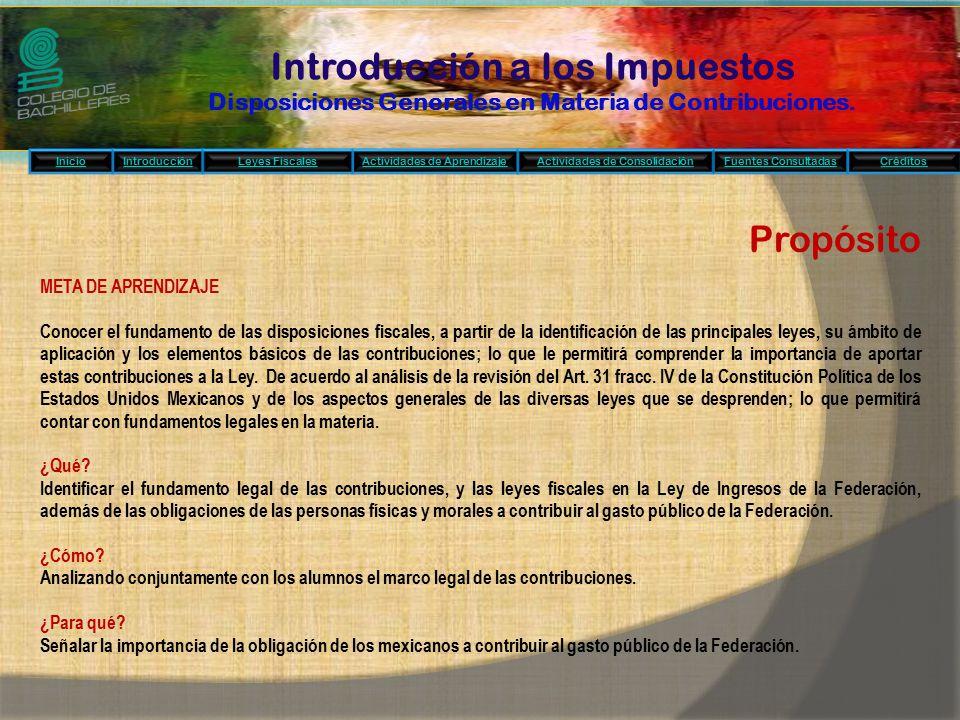 Introducción a los Impuestos Disposiciones Generales en Materia de Contribuciones.