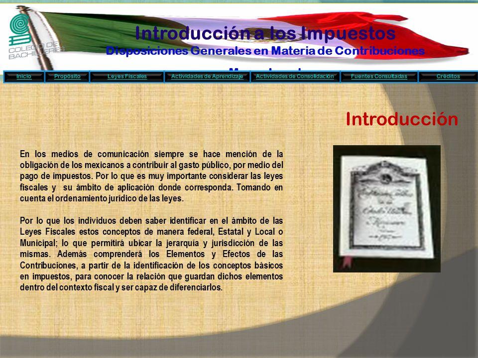 Introducción a los Impuestos Disposiciones Generales en Materia de Contribuciones