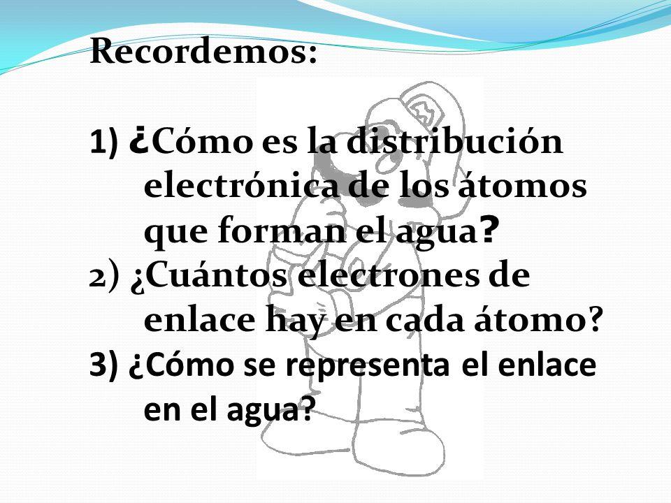 Recordemos: 1) ¿Cómo es la distribución electrónica de los átomos que forman el agua 2) ¿Cuántos electrones de enlace hay en cada átomo