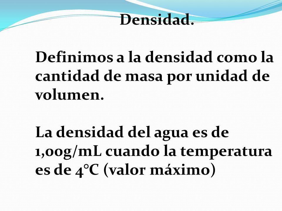 Densidad. Definimos a la densidad como la cantidad de masa por unidad de volumen.