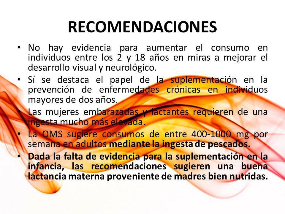 RECOMENDACIONES No hay evidencia para aumentar el consumo en individuos entre los 2 y 18 años en miras a mejorar el desarrollo visual y neurológico.