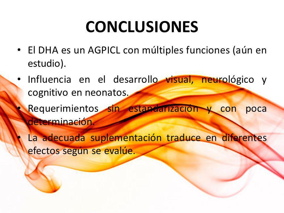 CONCLUSIONES El DHA es un AGPICL con múltiples funciones (aún en estudio). Influencia en el desarrollo visual, neurológico y cognitivo en neonatos.