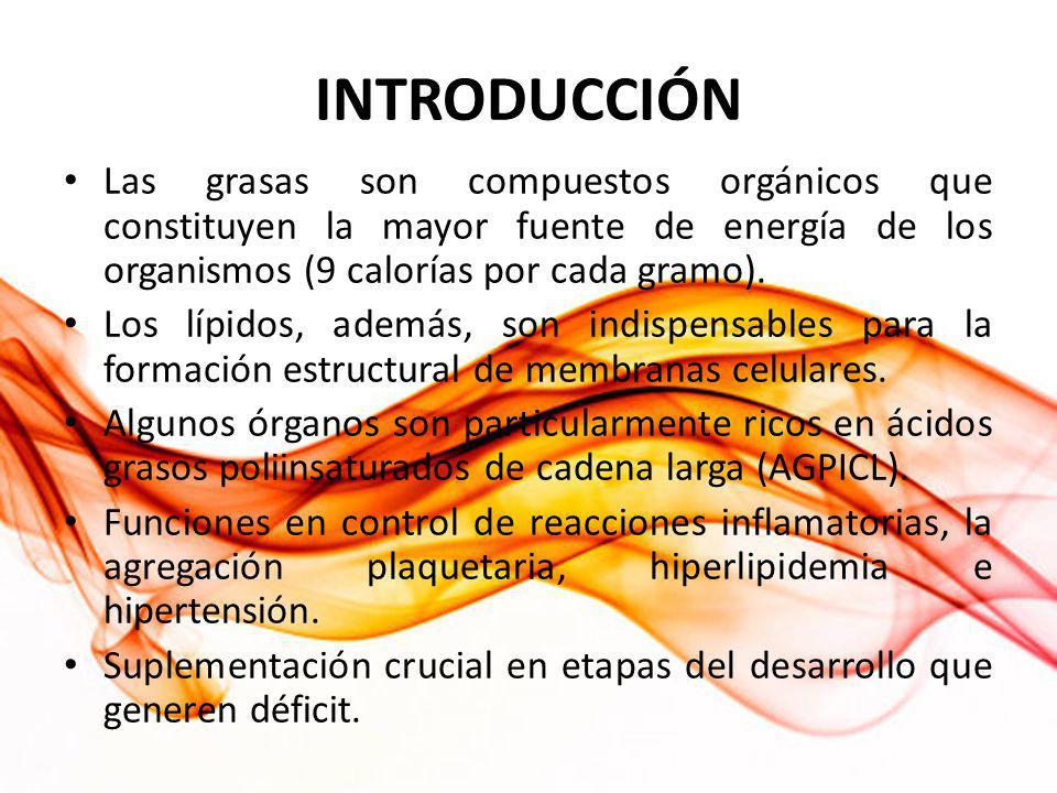 INTRODUCCIÓN Las grasas son compuestos orgánicos que constituyen la mayor fuente de energía de los organismos (9 calorías por cada gramo).