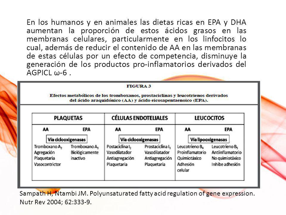 En los humanos y en animales las dietas ricas en EPA y DHA aumentan la proporción de estos ácidos grasos en las membranas celulares, particularmente en los linfocitos lo cual, además de reducir el contenido de AA en las membranas de estas células por un efecto de competencia, disminuye la generación de los productos pro-inflamatorios derivados del AGPICL ω-6 .