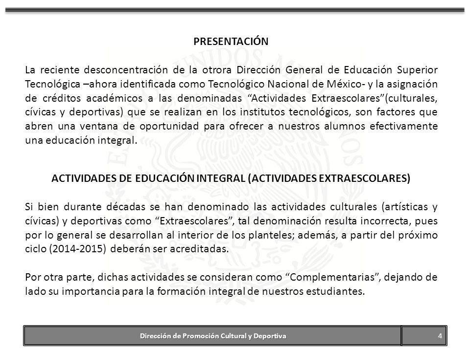 ACTIVIDADES DE EDUCACIÓN INTEGRAL (ACTIVIDADES EXTRAESCOLARES)