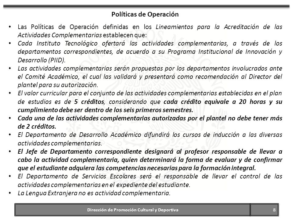 Políticas de Operación Dirección de Promoción Cultural y Deportiva