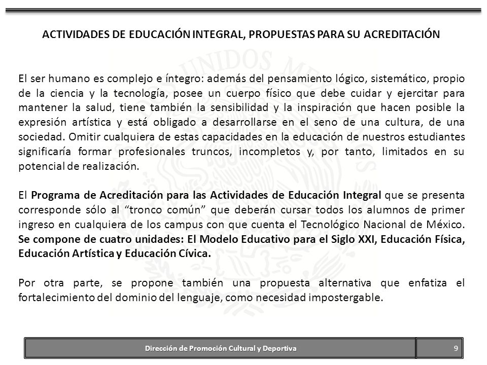 ACTIVIDADES DE EDUCACIÓN INTEGRAL, PROPUESTAS PARA SU ACREDITACIÓN