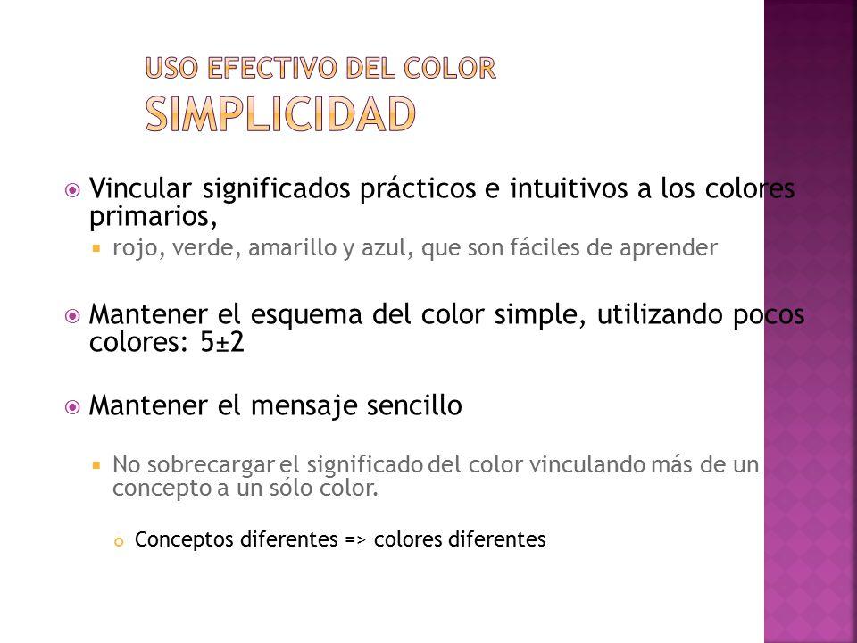 Uso efectivo del color Simplicidad