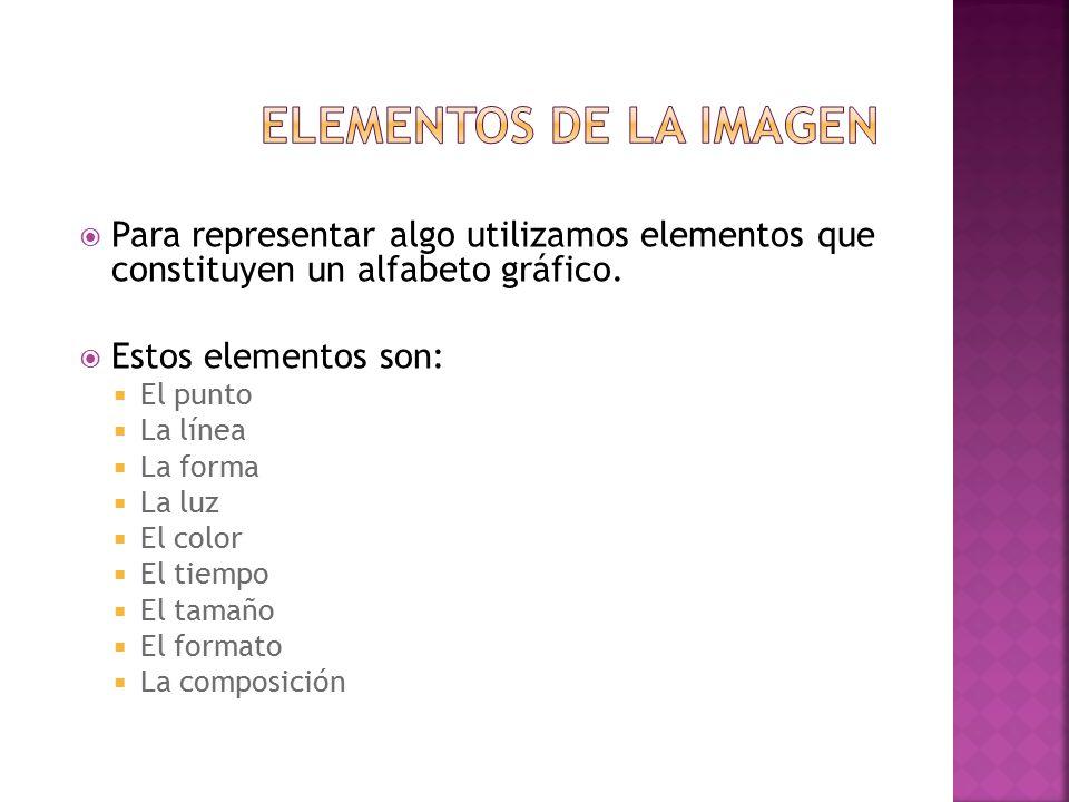 Elementos de la imagen Para representar algo utilizamos elementos que constituyen un alfabeto gráfico.