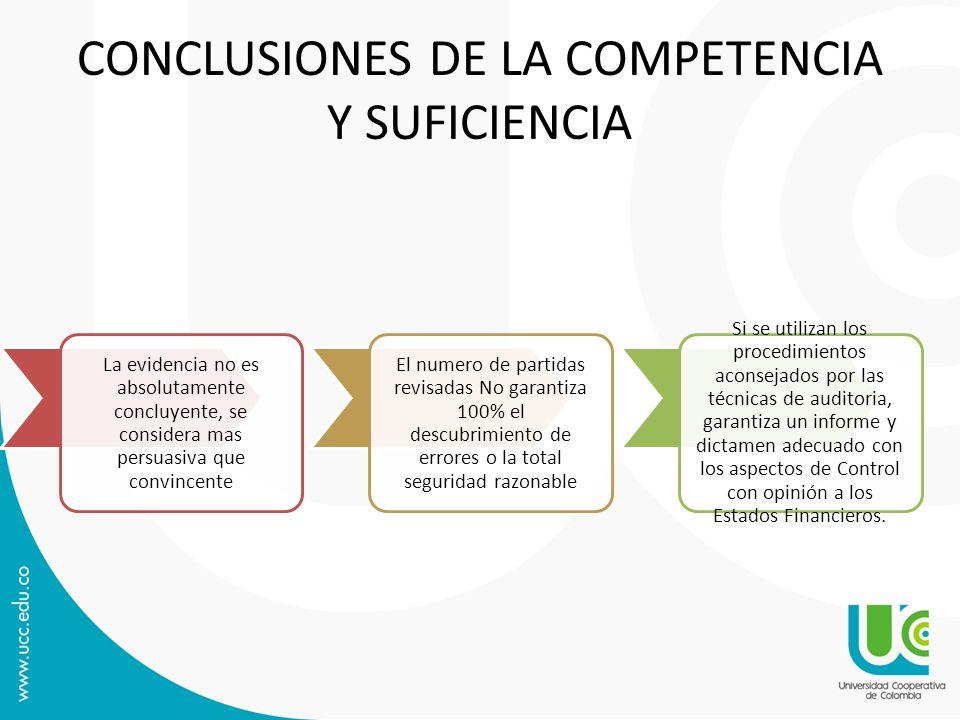 CONCLUSIONES DE LA COMPETENCIA Y SUFICIENCIA