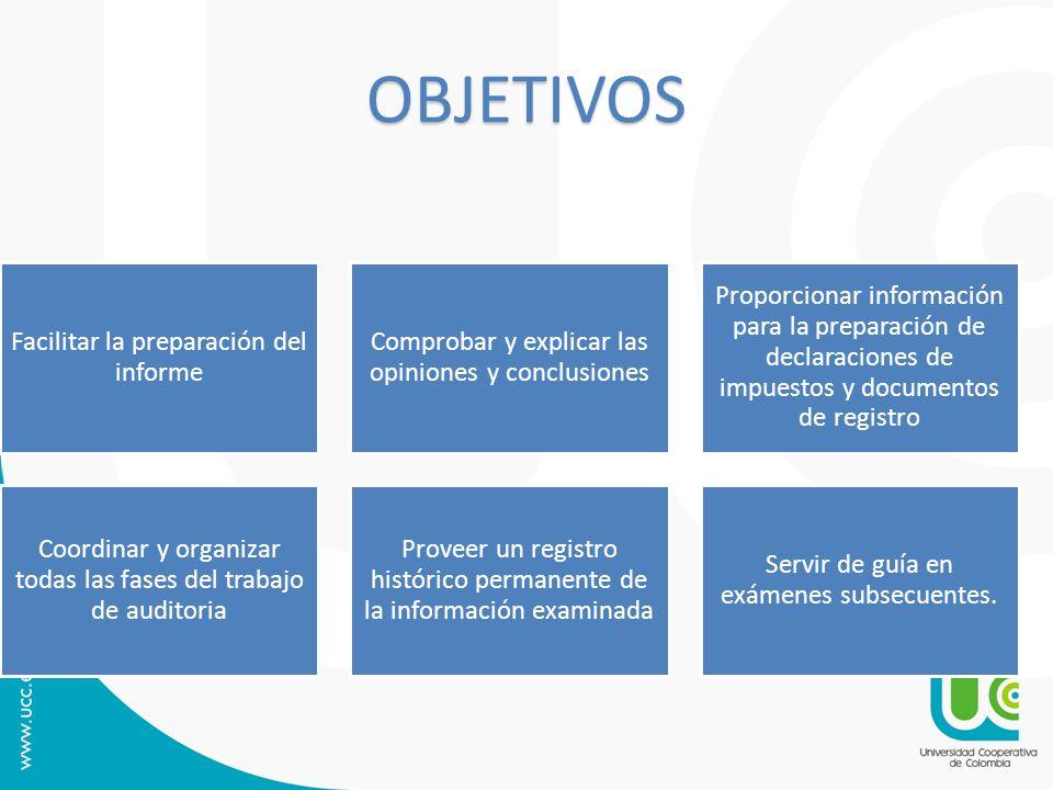 OBJETIVOS Facilitar la preparación del informe